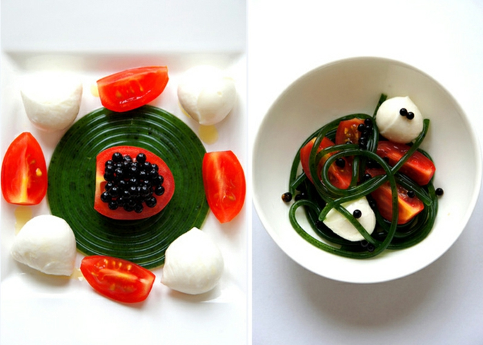 molekulare Küche mozzarela tomate basilikum