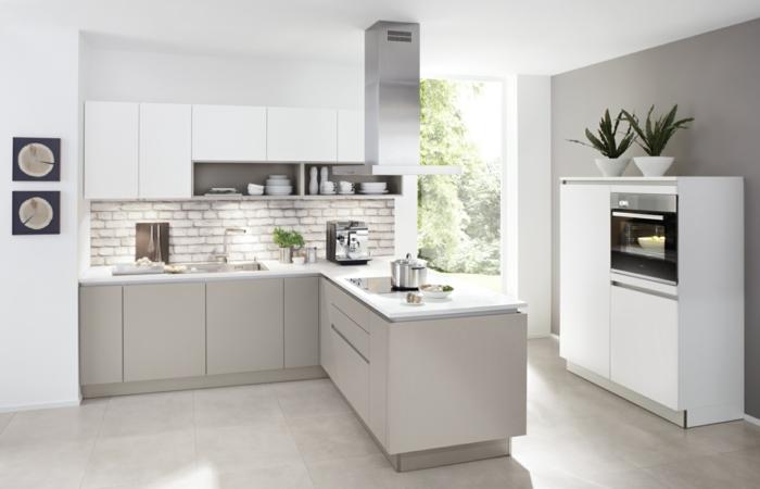 nolte küchen design ziegelwand akzentwand pflanzen