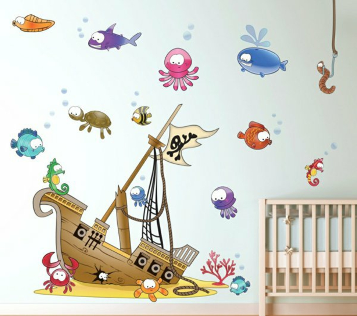 piraten wandtattoo kinderzimmer quartru - Kinderzimmer Piratwandgestaltung