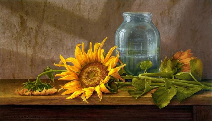 realismus kunst leinwand sonnenblumen manfred juergens