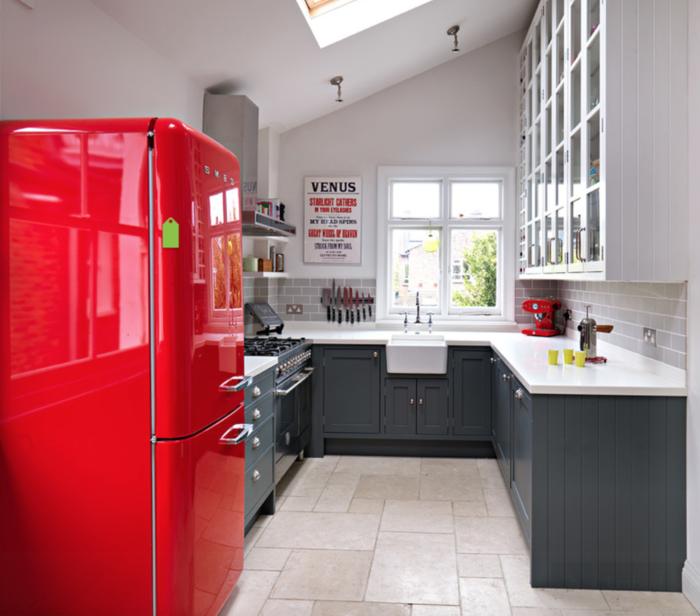retro kühlschrank rot industrielle küche bodenfliesen