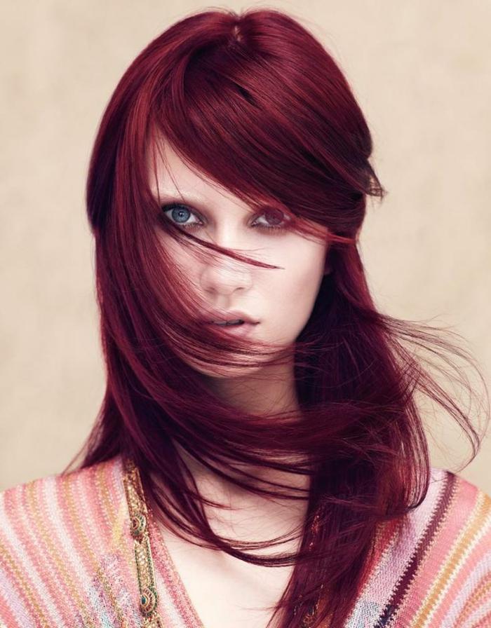 rote haare färben langhaarschnitte mit pony