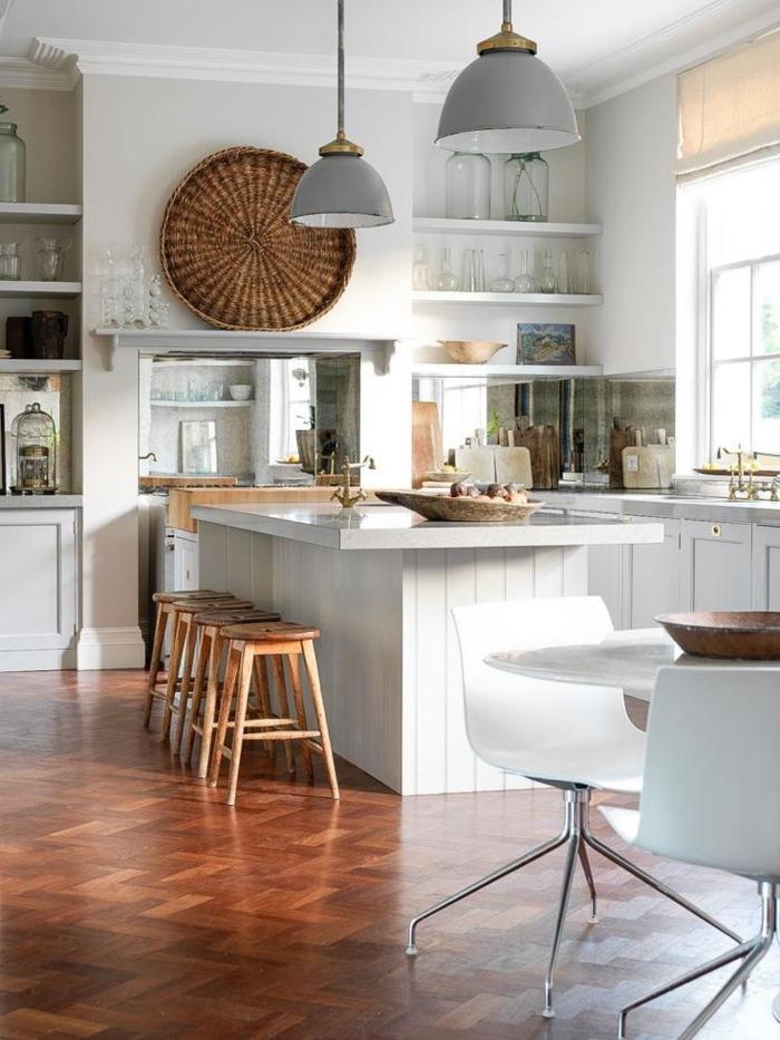rustikale akzente küchen ideen küche mit kochinsel barhocker