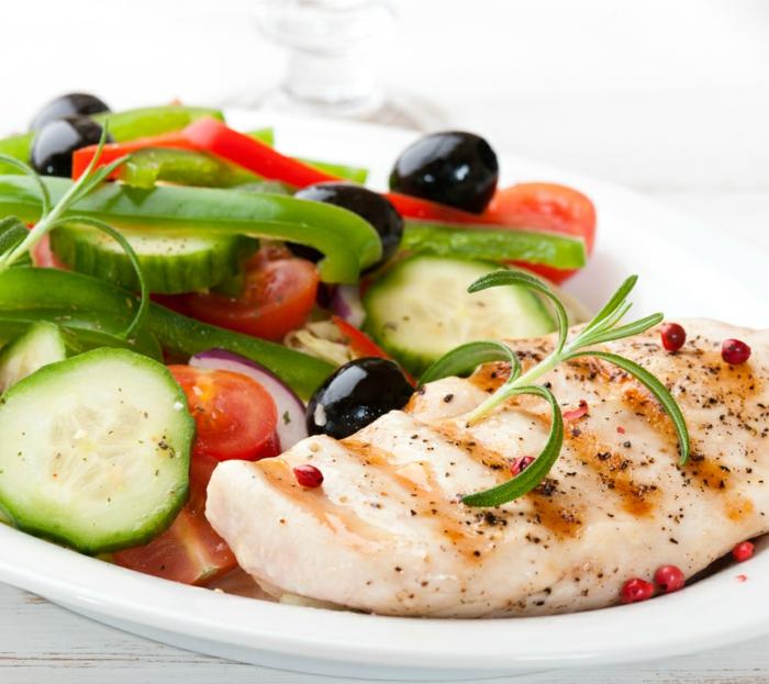 schöne haut gesund essen fettarmes fleisch frischer salat