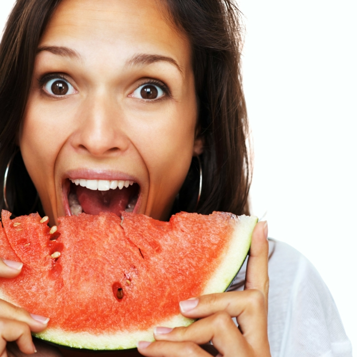 schöne haut gesund lebensmittel wassermelone