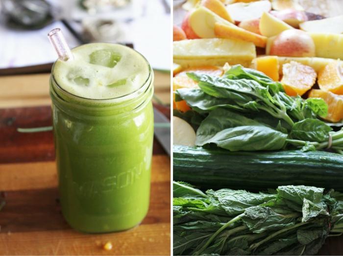 schöne haut vegane ernährung grünes gemüse smoothies
