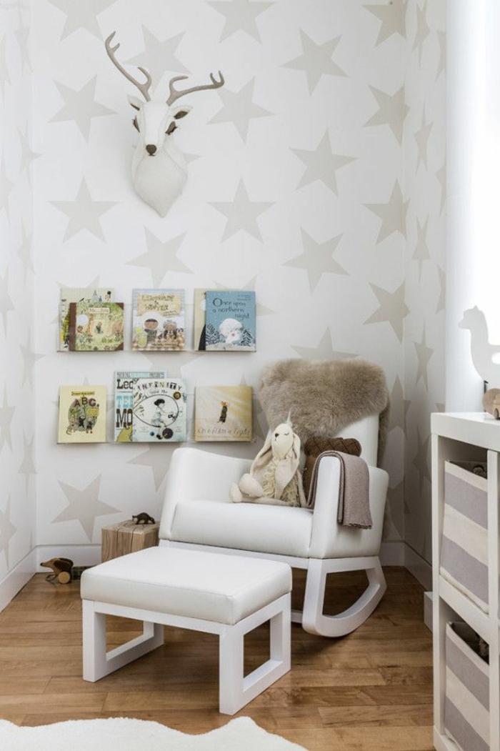 schaukelstühle designs kinderzimmer gestalten hocker weißer teppich