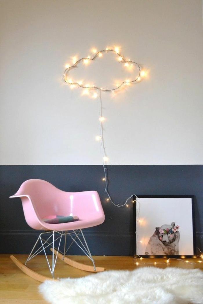 schaukelstühle designs kinderzimmer rosa weißer teppich
