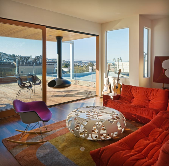 Mit Schaukelstuhl Eine Schicke Erholungsecke Gestalten Wohnzimmer Einrichten Orange
