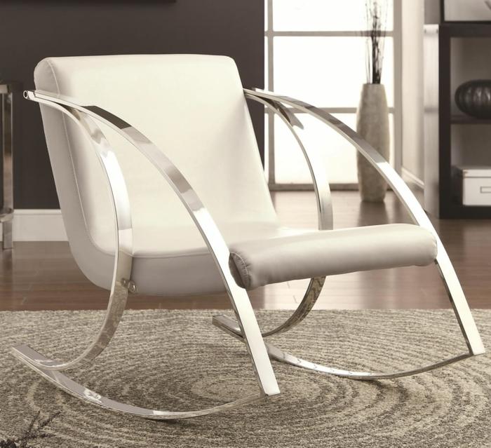 schaukelstühle designs modern weiß metall schöne wohnideen