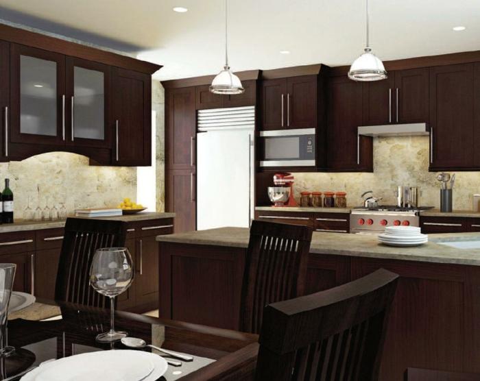 shaker möbel küchendesign dunkles holz luxus
