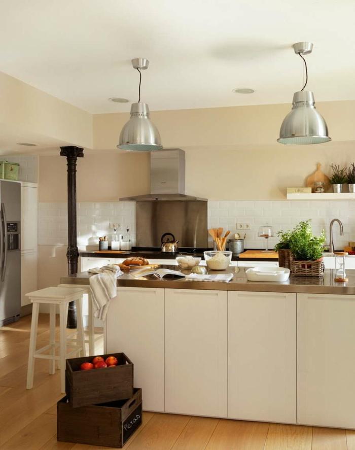shaker möbel moderne küche kücheninsel industrielle pendelleuchten