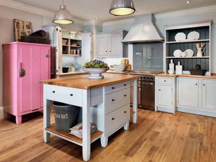 shaker möbel schlichte kücheneinrichtung rosa anrichte
