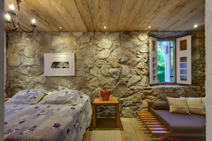 Steinwand Fur Den Innenbereich : steinwand schlafzimmer gestalten coole wandgestaltung beistelltisch