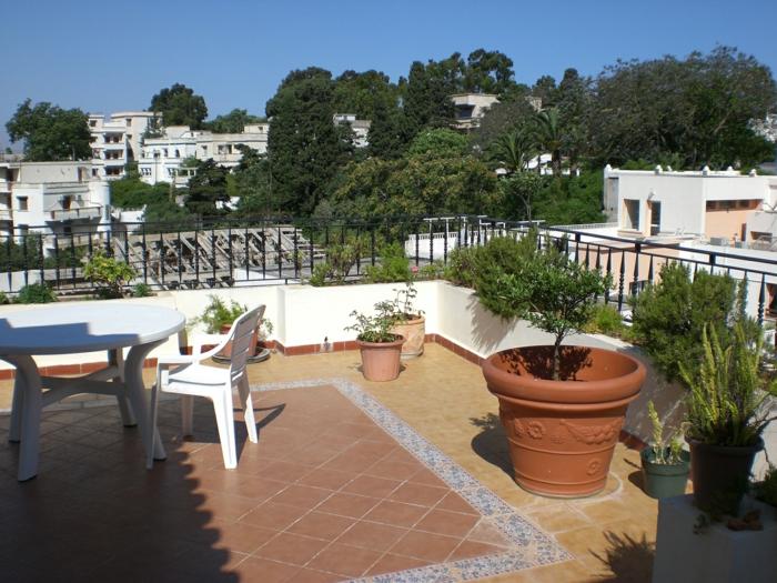 terrasse gestalten pflanzen außenmöbel bodenfliesen