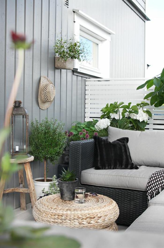 terrassenbepflanzung möbel rattan balkonpflanzen terrassengestaltung ideen