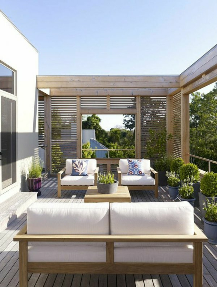 terrassengestaltung ideen balkonpflanzen holzterrasse