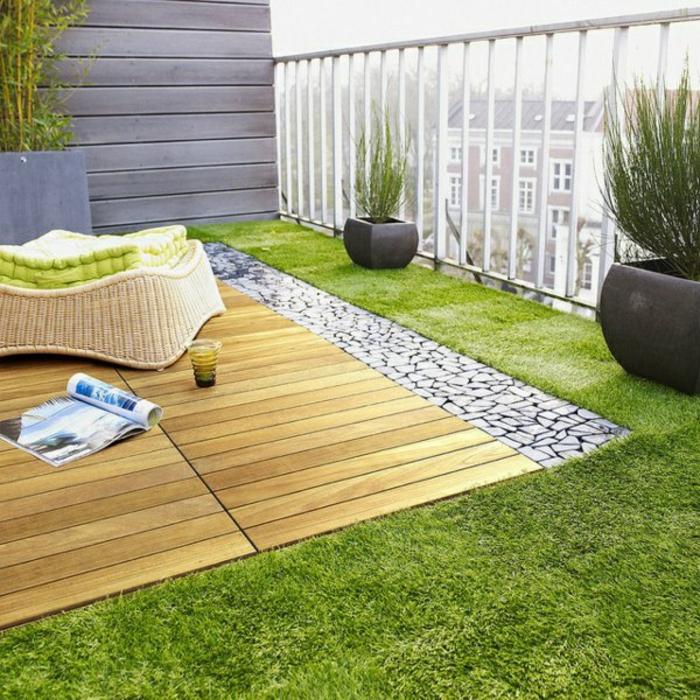 terrassen ideen balkonpflanzen lounge möbel holzboden kunstrasen
