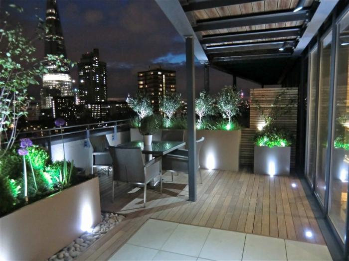 terrassengestaltung moderne außenmöbel beleuchtung pflanzen