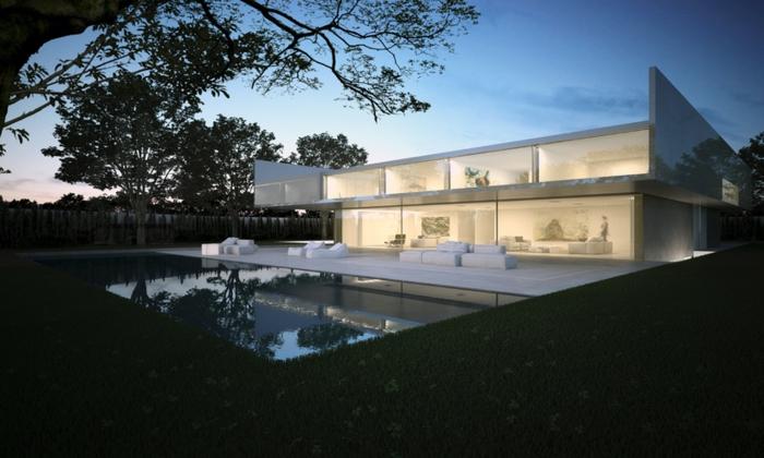 traumhaus bauen moderne architektur gerade linien