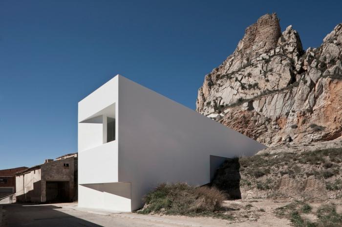 traumhaus bauen weißer putz beton