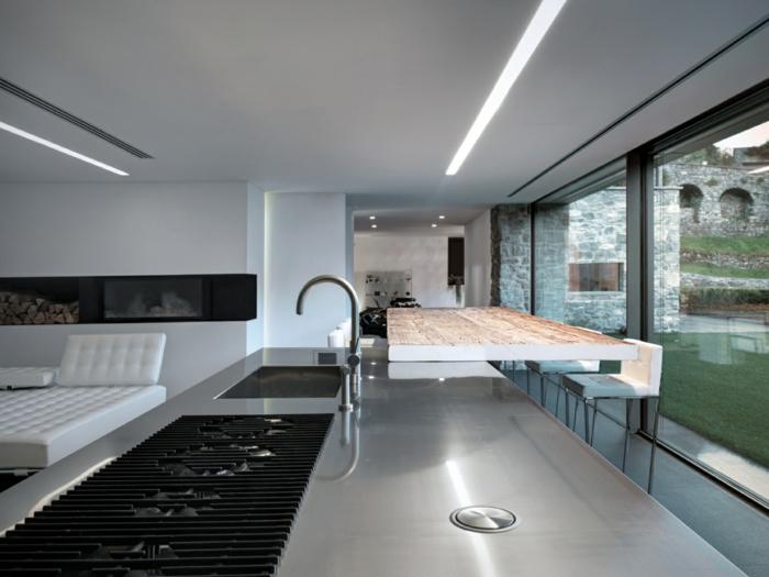 traumhaus modernes design offener wohnplan kücheninsel minimalistische armatur