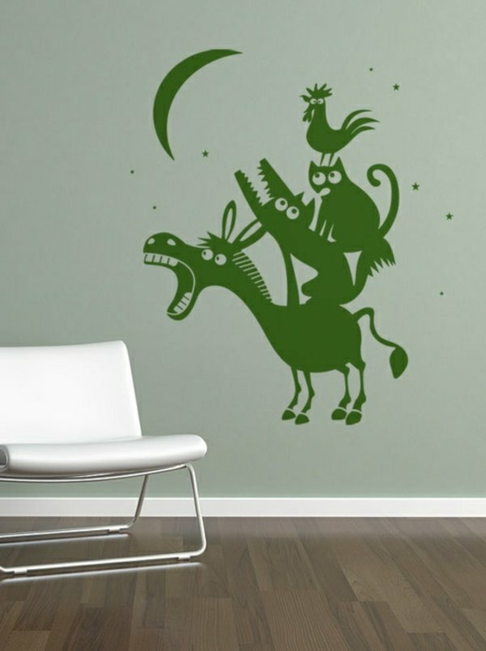 Wandgestaltung Kinderzimmer Wandtattoo Bremer Stadtmusikanten Grün  Wandfarbe Individuelles Wandtattoo Im Kinderzimmer Auswählen ...