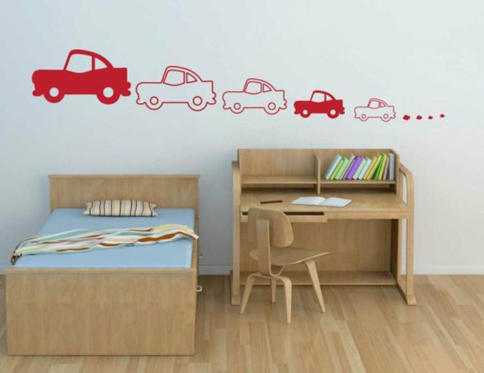 wandtattoo kinderzimmer autos wandsticker rot