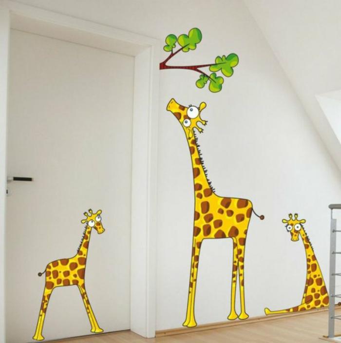 wandtattoo kinderzimmer kreative wandgestaltung wandaufkleber giraffen familie