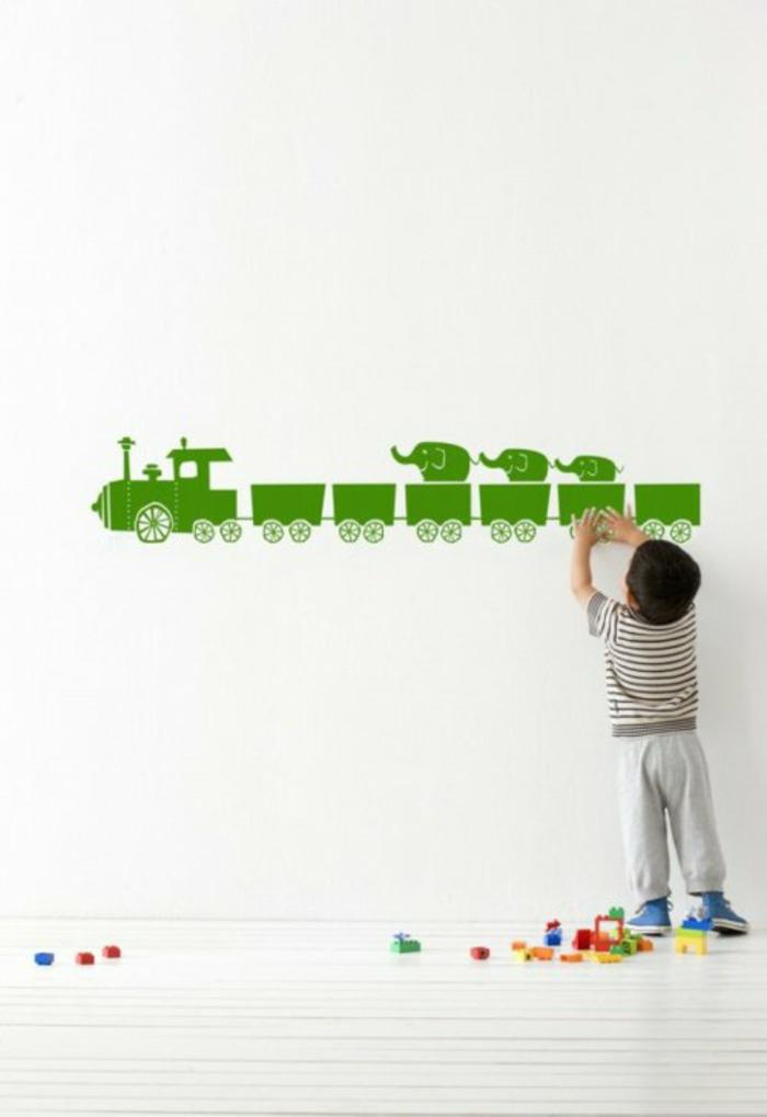 wandtattoo kinderzimmer wandsticker zug grün aufkleber
