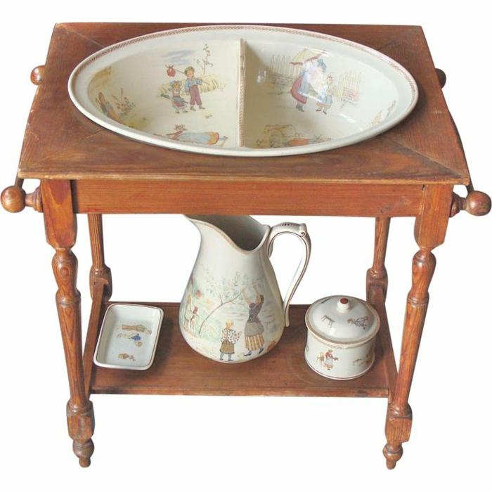 waschtisch holz badezimmer ideen antike möbel porzellan