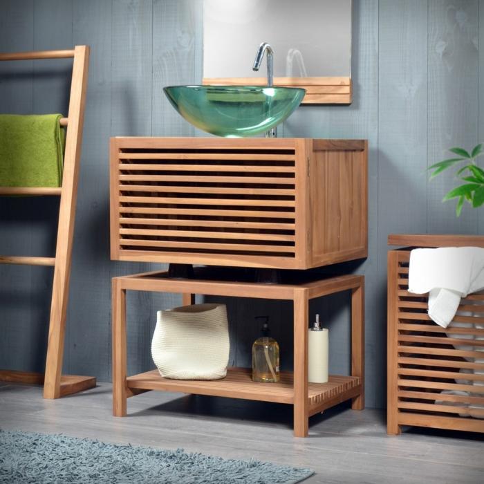 waschtisch holz moderne badezimmer ideen holzmöbel glas waschbecken