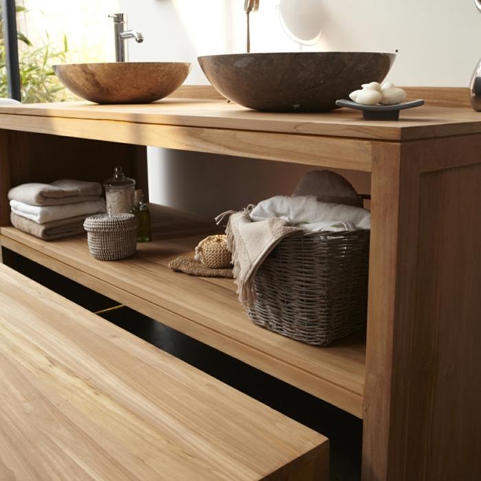 waschtisch holz rustikale badezimmer ideen echtholz möbel details