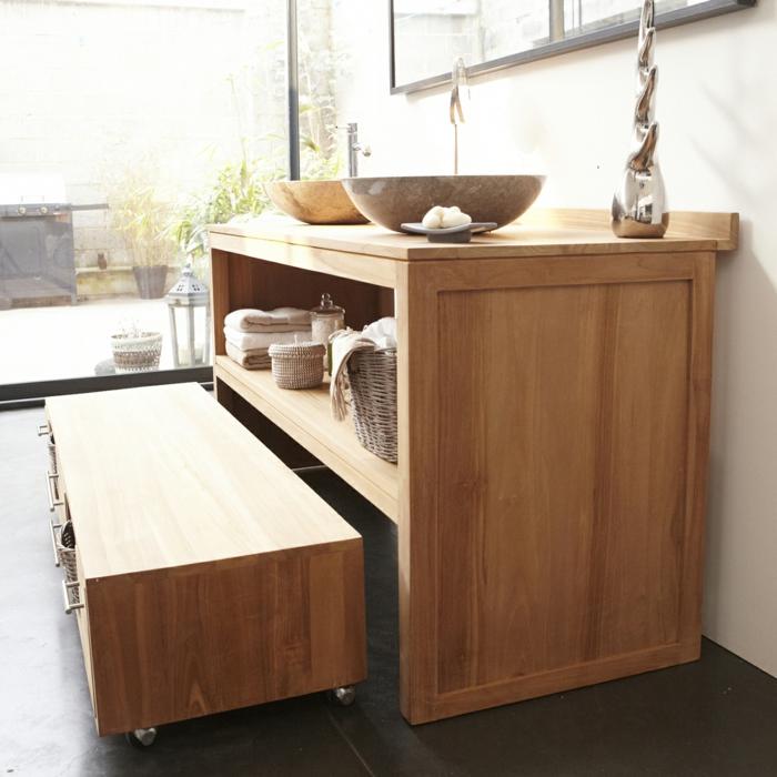 waschtisch holz rustikale badezimmer ideen echtholz möbel