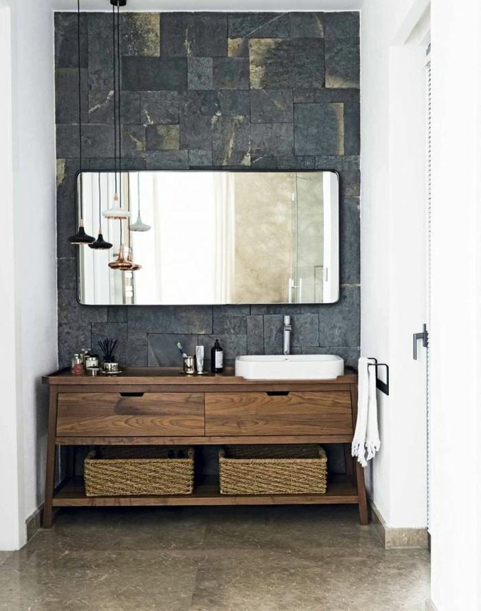 waschtisch holz rustikale badezimmer ideen flechtmöbel
