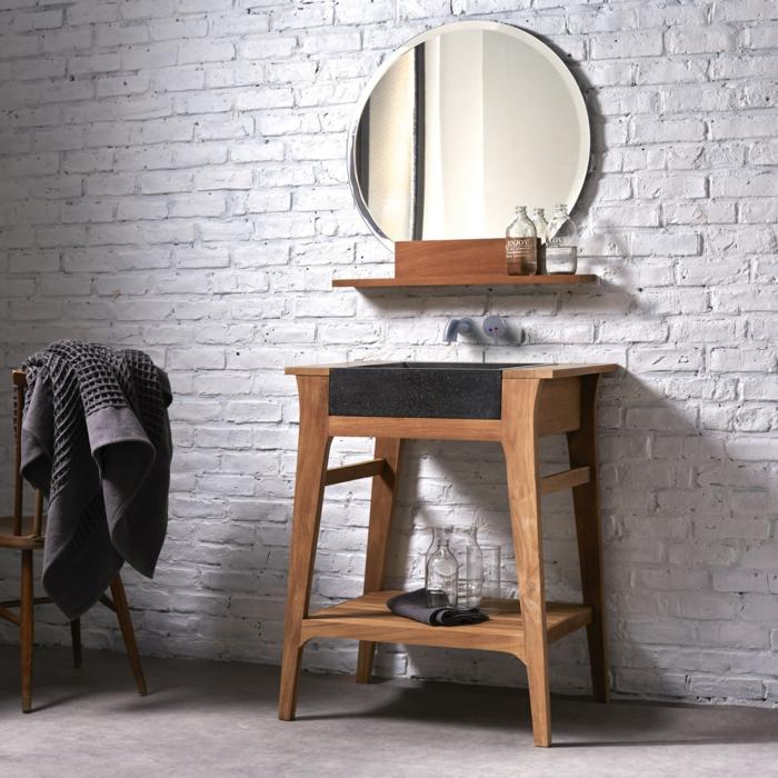 Badezimmer Möbel Echtholz: Waschtisch Aus Holz Und Andere Rustikale Badezimmer Ideen