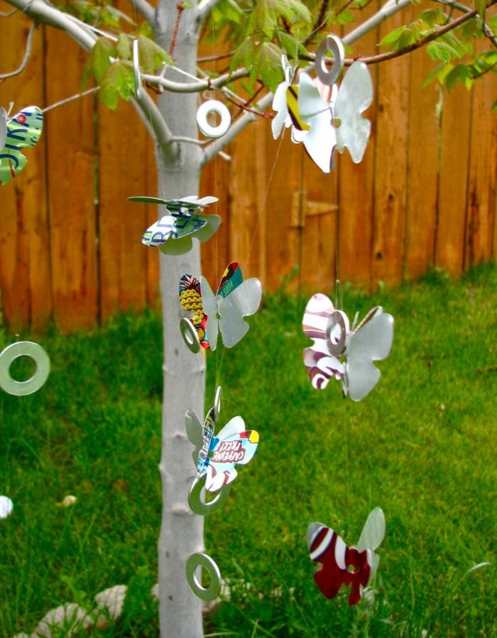 windspiel garten wiedeverwendetes material gartenideen