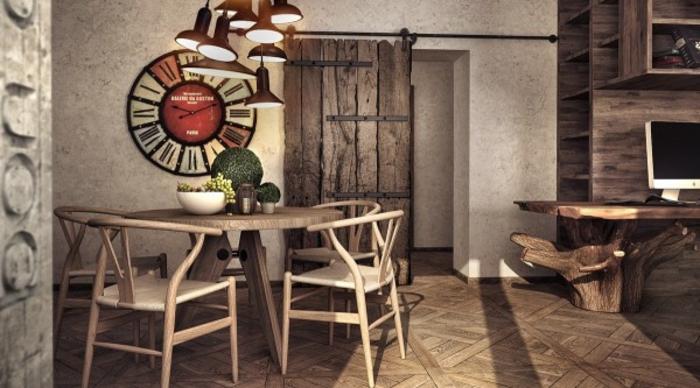 wohnen im landhausstil küche einrichten rustikal holzmöbel