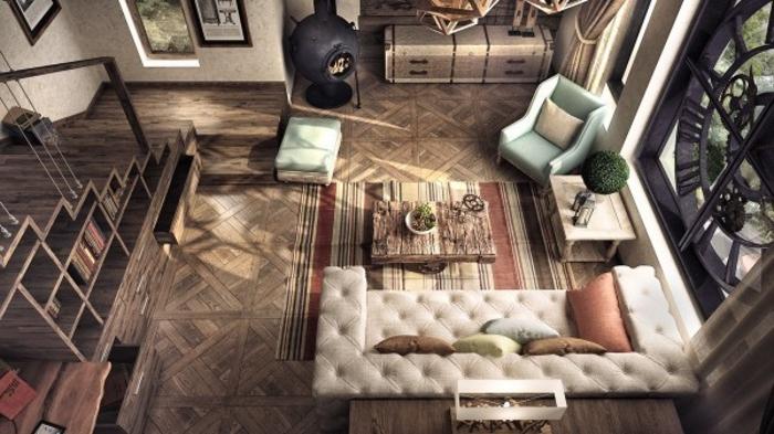 wohnen im landhausstil wohnzimmer einrichten rustikal