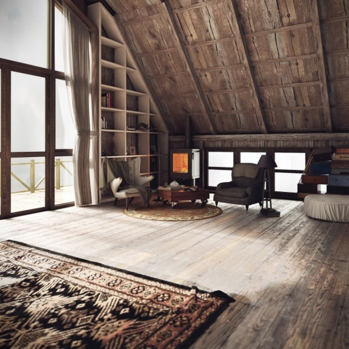 wohnen im landhausstil dachzimmer möbel holz