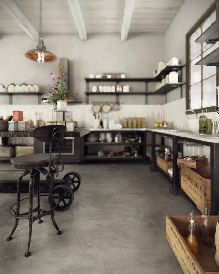 wohnen im landhausstil küche möbel metall stühle industrial design