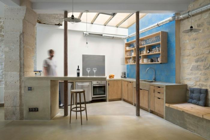wohnideen kleine räume kleine küche blaue akzente