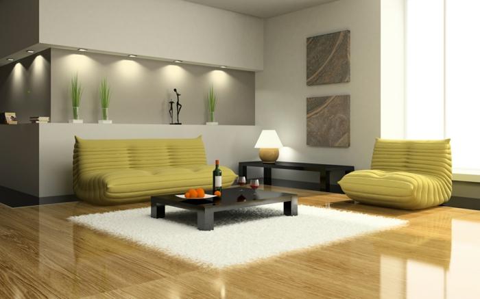 wohnzimmer beleuchtung eingebaute leuchten ausgefallene möbel