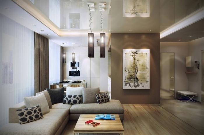 wohnzimmer beleuchtung modernes ecksofa einbauleuchten pendelleuchten