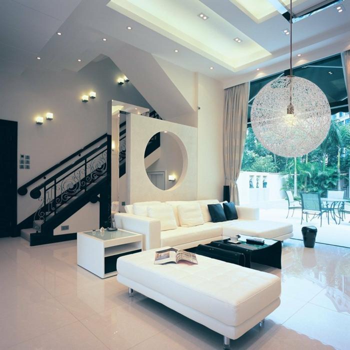 wohnzimmer beleuchtung pendelleuchte eingebaute leuchten weiß schwarz