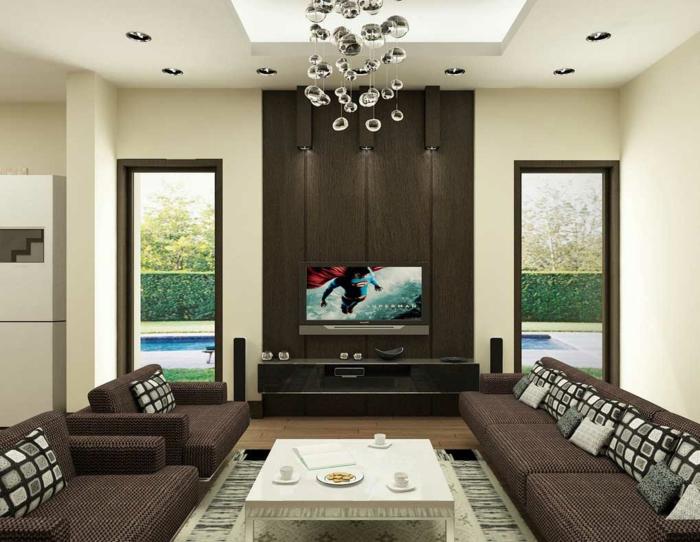 wohnzimmer beleuchtung schicke wohnzimmermöbel teppich einbauleuchten