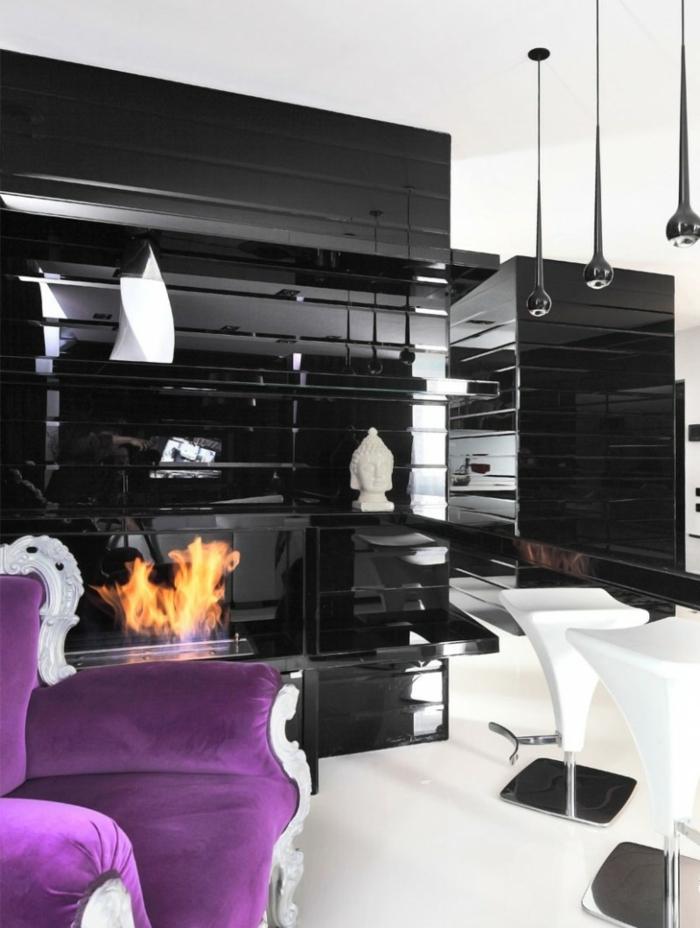 wohnzimmer beleuchtung schwarze pendelleuchten moderner kamin