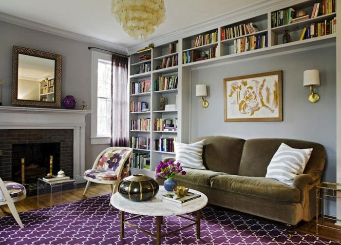 wohnzimmerbeleuchtung frisches teppichmuster sofa kamin wandleuchten