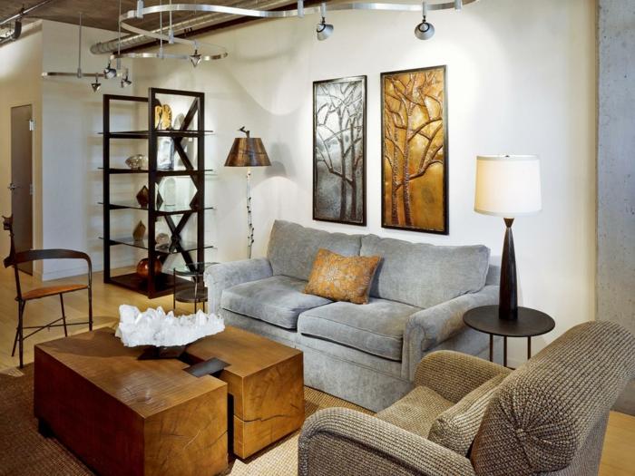 wohnzimmerbeleuchtung ideen rustikaler couchtisch teppich