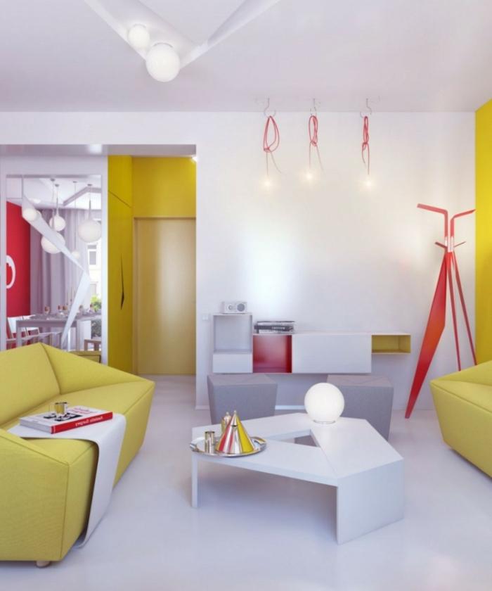 wohnzimmerbeleuchtung krasse akzente deckenbeleuchtung geometrisch